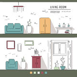Linear flat interior design illustration of modern designer living apartment. Outline vector graphic concept. Royalty Free Stock Photography