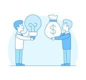 Linear Flat Investor Money bag lamp investment Ide. Linear Flat Investor offering profit for Idea vector illustration. Money bag, lamp and businessmen characters vector illustration