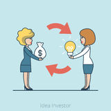 Linear Flat Investor Money bag lamp women offering. Linear Flat Investor offering profit for Idea vector illustration. Money bag, lamp and businesswomen stock illustration