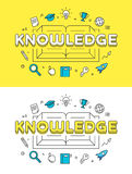 Linear Flat KNOWLEDGE book website vector Stock Photos
