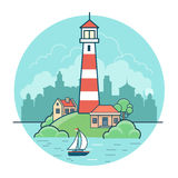 Linear Flat lighthouse house island sky city  Royalty Free Stock Images