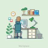 Linear flat line art business office interior desk. Linear flat line art style business workplace office interior desk concept. Businessman rear back view table Royalty Free Stock Photography