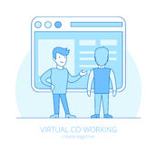 Linear flat line art virtual coworking business ve Royalty Free Stock Image