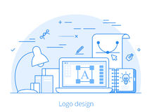 Linear Flat logo design identity website vector  Royalty Free Stock Image