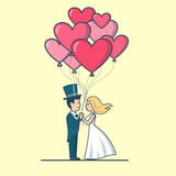Linear Flat Love Romance Couple Valentines day. Linear Flat newlyweds Couple dressed for wedding holding heart balloons vector illustration. Newly weds or vector illustration