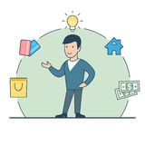 Linear Flat man lamp house money credit cards vect. Linear Flat happy man standing; lamp, house, money, credit cards package in circle around vector illustration Royalty Free Stock Image