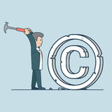 Linear Flat man mark pieces hammer vector. Linear Flat businessman crashing huge mark to pieces by hammer vector illustration. Copyright violation, stealing Stock Photo