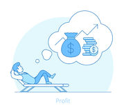 Linear Flat man profit recliner vector Money coins. Linear Flat Investor dream about profit lying on recliner vector illustration. Money bag, coins and Stock Photos