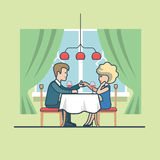 Linear Flat Man Propose Lady Restaurant Vector