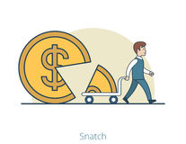 Linear Flat man takes part coin cart snatch  Royalty Free Stock Photography
