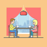 Linear Flat Man woman table diner room tea vector. Linear Flat Man and woman at the table in diner room, drinking tea vector illustration. Happy family life Stock Images