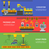 Linear Flat manufacture conveyor package line stock illustration