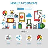 Linear flat Mobile e-commerce infographics templat. E and icons website hero image illustration. Online shopping concept stock illustration