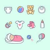 Linear Flat Newborn Girl ball bear socks diaper so Royalty Free Stock Photography