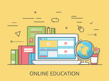 Linear Flat online education website vector. Linear Flat online education website hero image vector illustration. Educational and knowledge, remote tutorial and Royalty Free Stock Photo