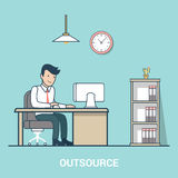 Linear Flat Outsource Business man table office in vector illustration
