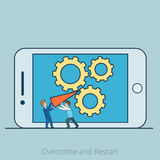 Linear Flat Overcome and Restart men gearwheels stock illustration