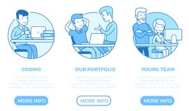 Linear flat page web design template vector. Busin stock illustration