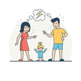 Linear Flat Parent quarrelling baby vector. Family vector illustration