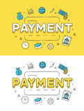 Linear Flat PAYMENT credit card image vector  Royalty Free Stock Photo