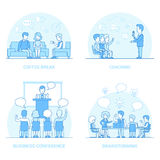 Linear Flat people Business Coach Brainstorming co. Linear Flat Businesspeople working and relaxation, office interior vector illustration. Coach, speaker royalty free illustration