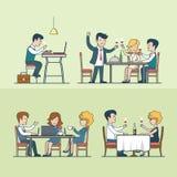 Linear Flat people in restaurant vector set. Food stock illustration