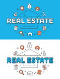 Linear Flat Real estate Selling house icons vector Stock Image