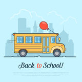 Linear Flat school bus and balloon vector. Back to Stock Images