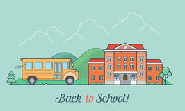 Linear Flat school bus and building facade vector Royalty Free Stock Image