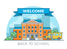 Linear Flat school bus and building facade vector. Linear Flat school bus and building facade entrance vector illustration. Welcome back to education concept Royalty Free Stock Image