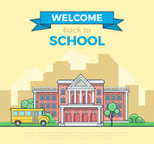 Linear Flat school bus and building facade vector. Linear Flat school bus and building facade entrance vector illustration. Welcome back to education concept Stock Images
