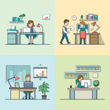 Linear Flat Secretary, manager, accountant Royalty Free Stock Images
