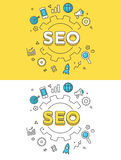Linear Flat SEO gearwheel icon vector. Linear Flat SEO word over gearwheel and icons website hero image vector illustration set. Search Engine Optimization and Stock Photo