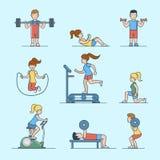 Linear Flat Sport health life website Woman man ex Stock Photos