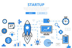 Linear flat STARTUP infographics. Template and icons website hero image  illustration. Successful business concept Stock Images