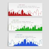 Linear flat style, set of vector banners with city silhouettes. Cover template for architectural design royalty free illustration