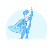 Linear Flat Superhero point suit red cape vector i stock illustration