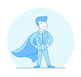 Linear Flat Superhero posing suit red cape vector. Linear Flat Businessman posing in suit and Super hero red cape vector illustration. Business leader concept stock illustration