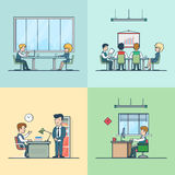 Linear Flat Team boss man woman at working place. Linear Flat Variety of business people at working place vector illustration set. Team, boss, businessman Stock Photos