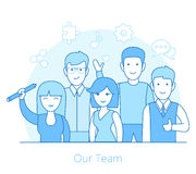 Linear Flat Team of young man and woman vector ill Royalty Free Stock Photo