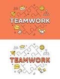 Linear Flat TEAMWORK puzzles hero image vector.. Linear Flat TEAMWORK word over puzzles and icons website hero image vector illustration set. Business company Stock Image