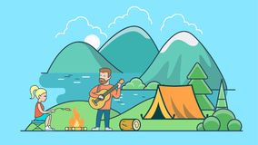 Linear Flat Tent beach lake mountain  countr. Linear Flat Tent on beach of lake between trees and mountains, Summer camping  illustration. Countryside vacation Royalty Free Stock Photo