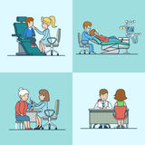 Linear Flat therapist neurology dentist equipment. Linear Flat therapist, ENT, neurology, dentist offices with medical equipment, doctor and patient characters stock illustration