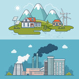 Linear Flat town compared to heavy industry vector Royalty Free Stock Photo