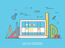 Linear Flat UI/UX interface design web site vector Stock Images