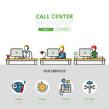 Linear flat User support Call center infographics Stock Photos