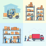 Linear Flat vector loader shelve box load van. Linear Flat vector loader and shelves with boxes, loading cargo in van vector illustration set. Storage business Royalty Free Stock Photos