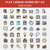 Linear flat web icons set. Modern color flat ui design  pictogram collection. Stock Photos