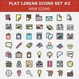 Linear flat web icons set. Modern color flat ui design  pictogram collection. Stock Photos