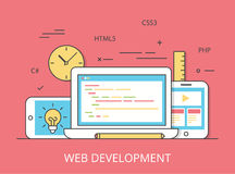 Linear Flat web site development programming vector. Linear Flat responsive web development layout website hero image vector illustration. App programming Stock Photos